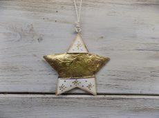 Fém csillag akasztós arany/fehér