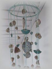 Kagylós szélcsengő jellegű dekoráci.15x69