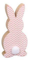 Fa nyuszi farkincával,  rózsaszín mintás, 14cm
