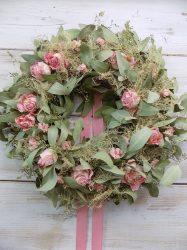 Ajtó/falidísz eukaliptusz, szárított virágokkal  Ø:44-50cm