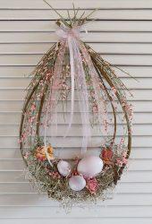 Húsvéti ajtódísz, természetes. 27x34-42