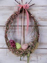 Húsvéti ajtódísz, természetes. 23x36-42