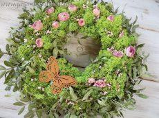 Tavaszi koszorú/ajtódísz természetes 35-40 cm