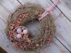Húsvéti koszorú/ajtódísz, természetes ∅:33