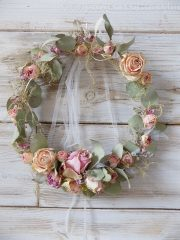 Vintage koszorú, szárított virágokból Ø:28cm