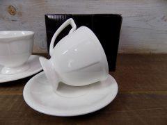 Porcelán mokkás csészepár aljjal, 80 ml