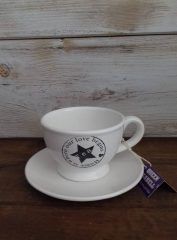 Porcelán csésze + alj, Quenn Izabell