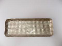 Fém tálca ó-ezüst, kopott hatású. 32x12x2cm