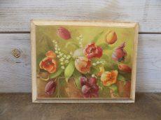 Vintage fa falikép tulipános 19x24
