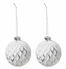Üveggömb dobozban fehér/ezüst ( 2db) Ø:8 cm