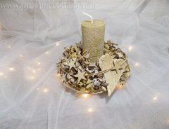 Karácsonyi aszataldísz arany hortenziás 18x16