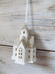 Ledes kerámia templom csilli pezsgő tetővel 9,5x6,5x5 cm