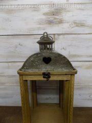 Antik fa lanternszett ó-arany fém tetővel 22x22x49cm+akasztó