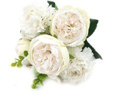 Selyemvirág csokor, peonia körömvirággal , törtfehér 31cm